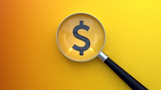 Searching Magnifier Glass Dollar, Dollar Icon Under Magnifying Glass