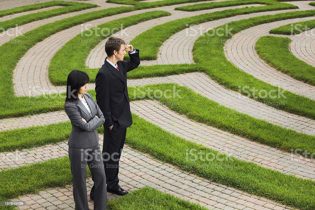 Searching Maze for Career Job, Business Corporate Future, Strategy Solutions royalty-free stock photo