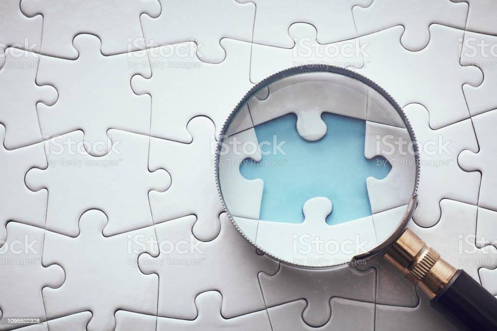 Searching Missing Piece stock photo