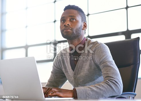 Shot of a thoughtful young businessman using a laptop in an officehttp://195.154.178.81/DATA/i_collage/pi/shoots/806234.jpg