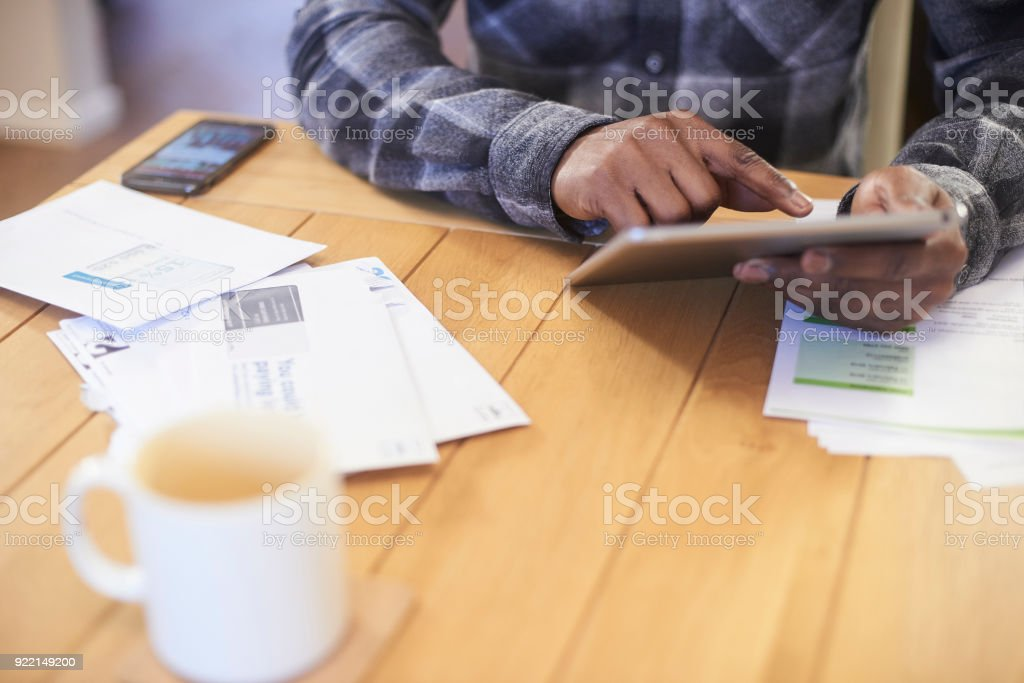 Searching the internet for a better deal stock photo