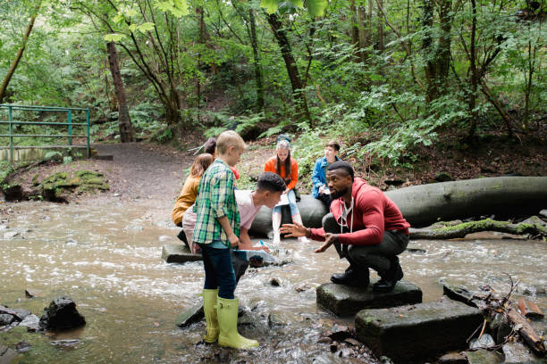 Searching the River for Wildlife Group of school children on a field trip. They are standing in a river looking for wildlife while listening to their teacher. school exteriors stock pictures, royalty-free photos & images