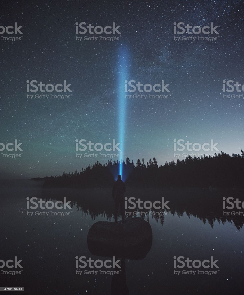 Searching the Stars Above stock photo