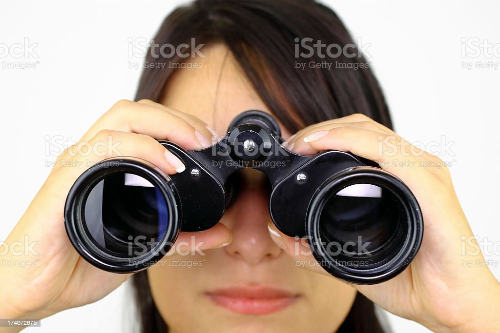 Searching with binoculars royalty-free stock photo