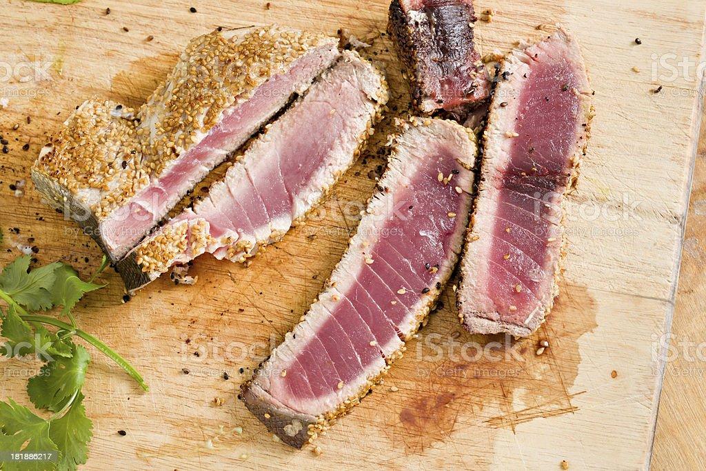 Seared Ahi tuna slices stock photo