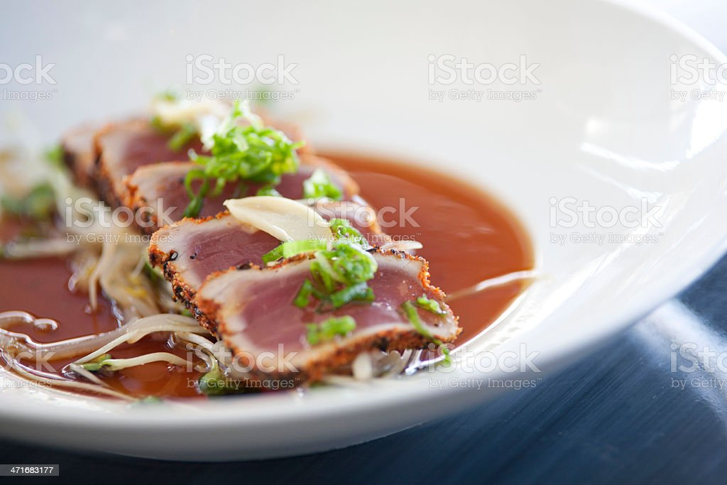 Seared Ahi With Garlic royalty-free stock photo