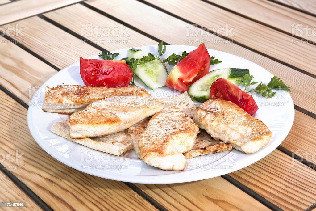 Seared chicken breast stock photo