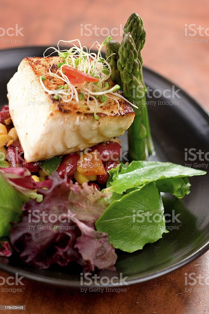 Seared Citrus Halibut royalty-free stock photo