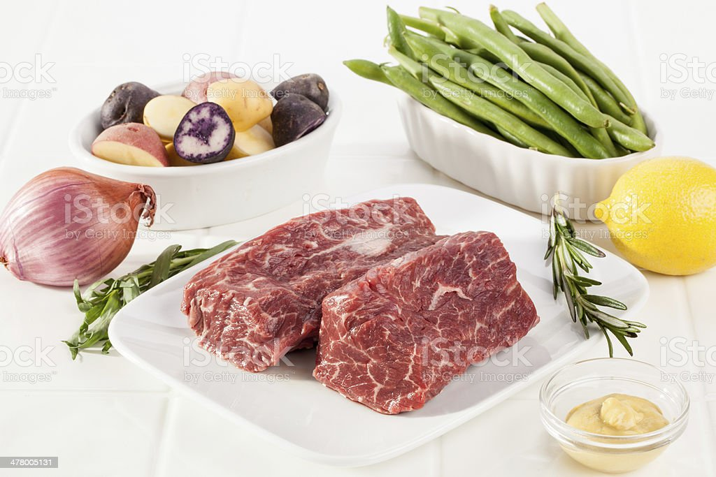 Seared Hanger Steak Dinner Ingredients royalty-free stock photo