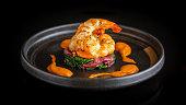 grilled shrimp, selective focus, close up