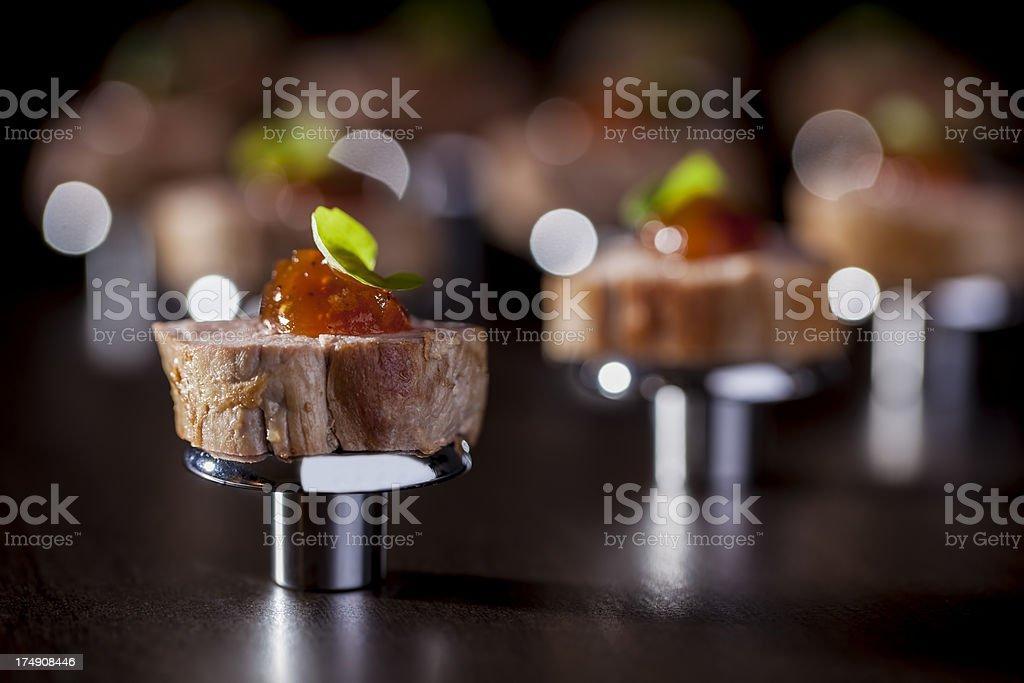 Seared Pork Tenderloin With Apple Mustard Chutney royalty-free stock photo