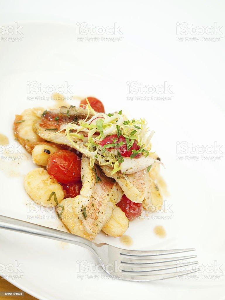 Seared Red Snapper & Potato Gnocchi stock photo