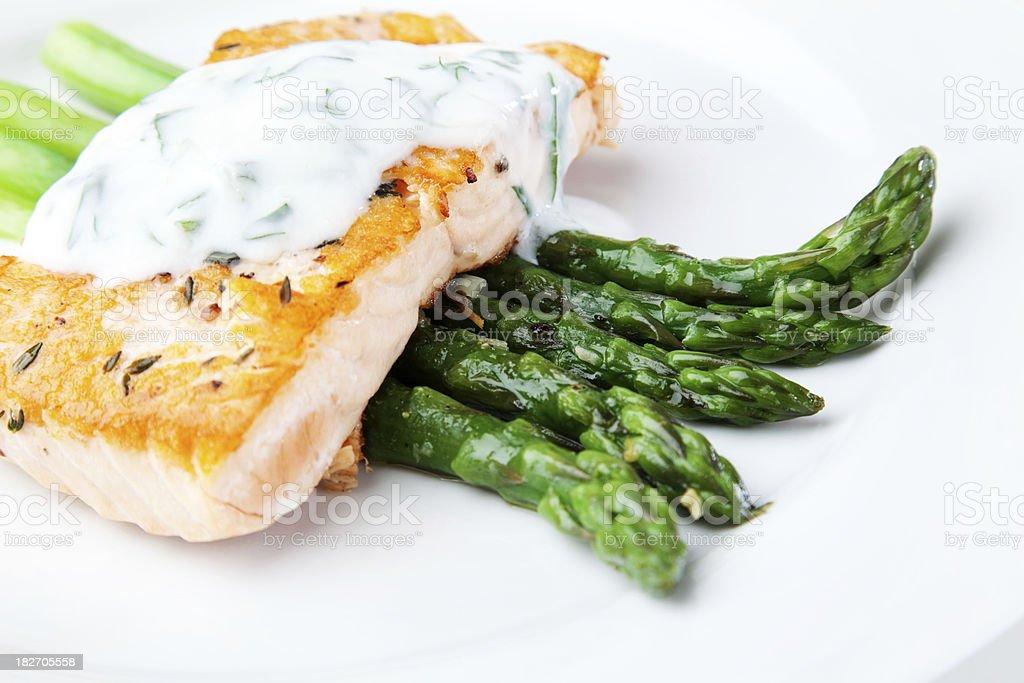 Seared Salmon & Asparagus royalty-free stock photo