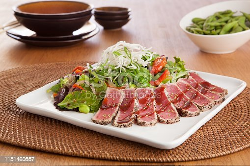 platter of fresh seared tuna steak