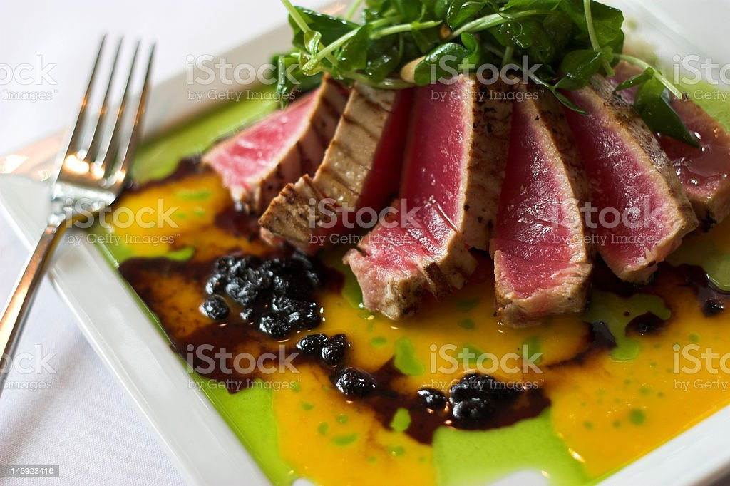 seared tuna with passionfruit sauce royalty-free stock photo