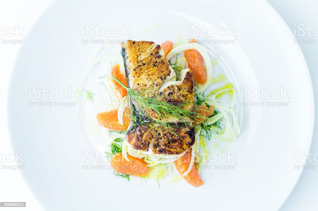 Seared Wahoo Fish Fillet with Fennel Orange Salad - foto de acervo