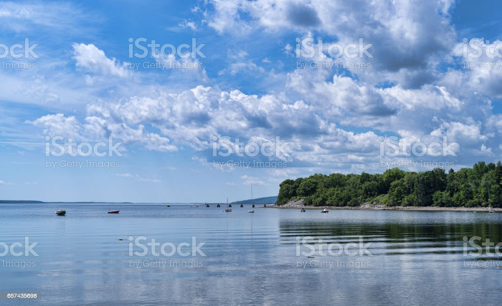 Searsport Maine in the summertime on the water stock photo