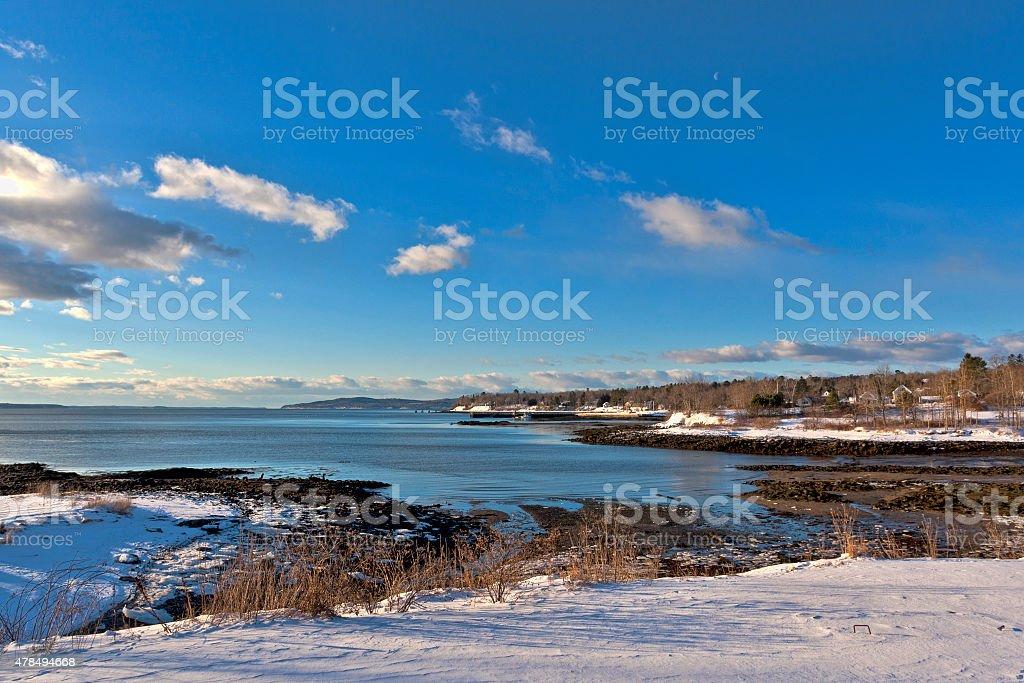 Searsport Maine Shoreline In Wintertime stock photo