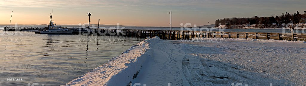 Searsport Maine town pier in wintertime stock photo