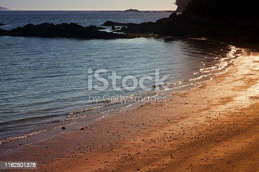 Seascape and beach at dusk, Rias Baixas  near Vigo city, Pontevedra province, Galicia, Spain.