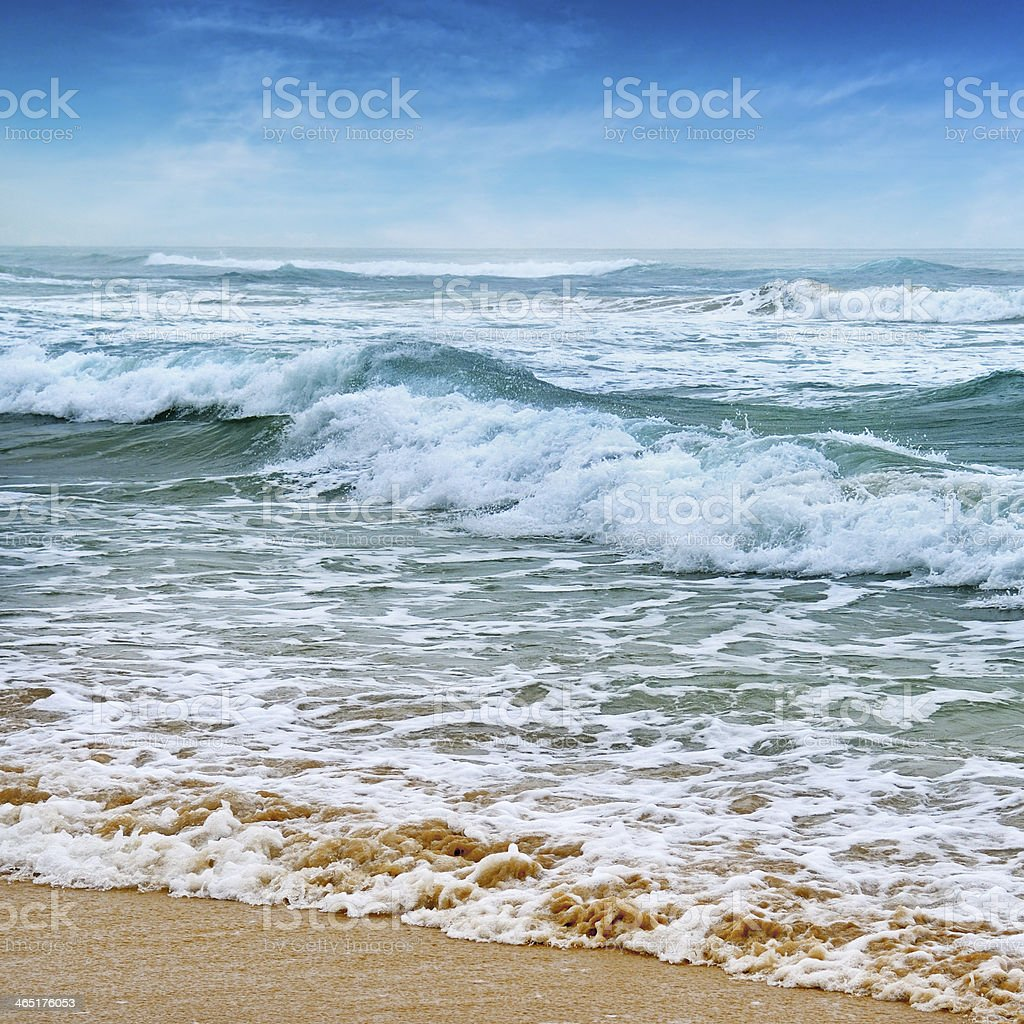 seascape and blue sky stock photo