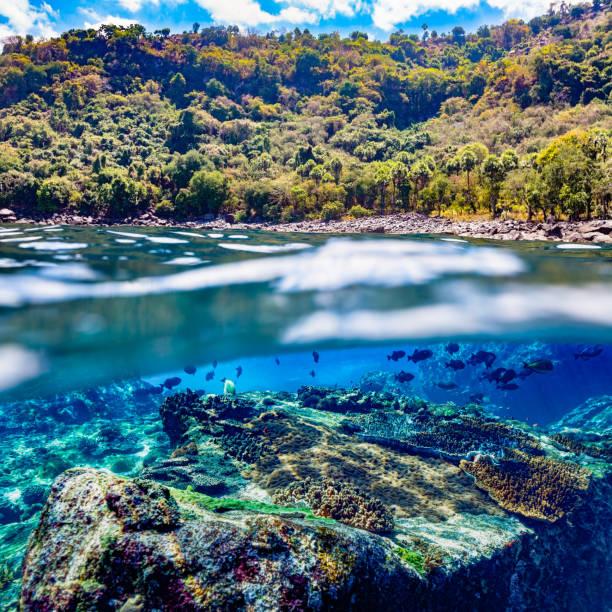 Seascape and Landscape, Split Photo of remote Alor Island, Pantar Strait, Indonesia stock photo