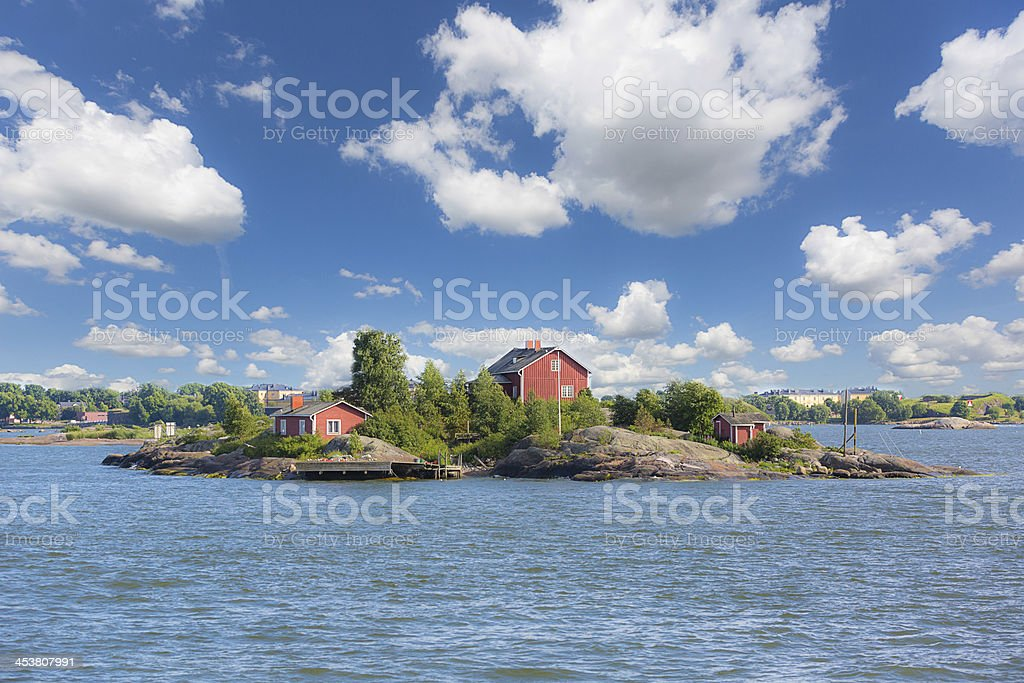 Seascape and Little Islands next to Helsinki stock photo