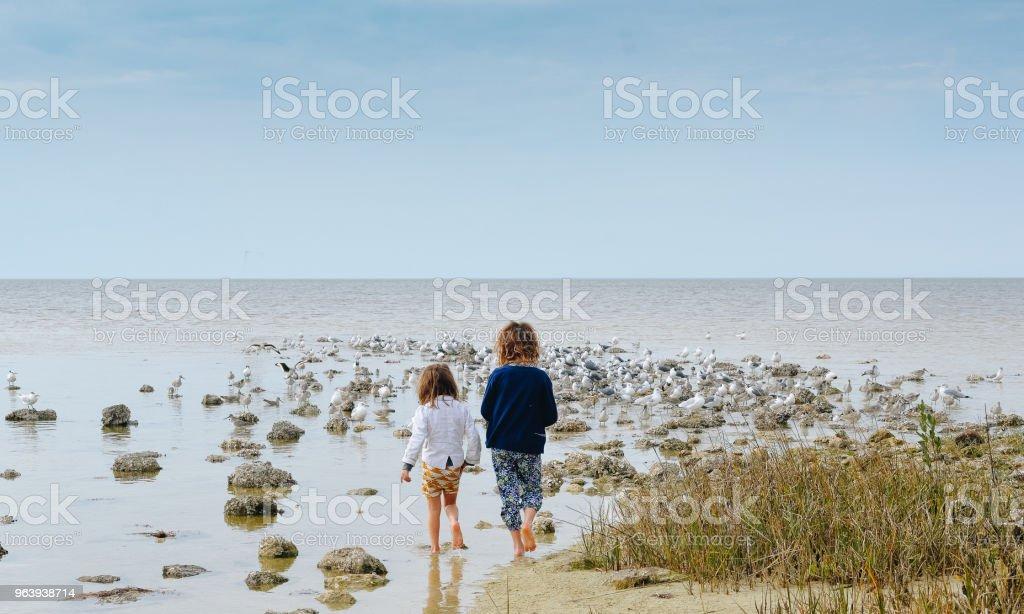 Seascape and Sisterhood - Royalty-free 4-5 Years Stock Photo
