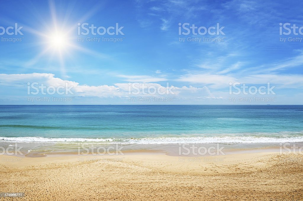 seascape and sun on blue sky stock photo