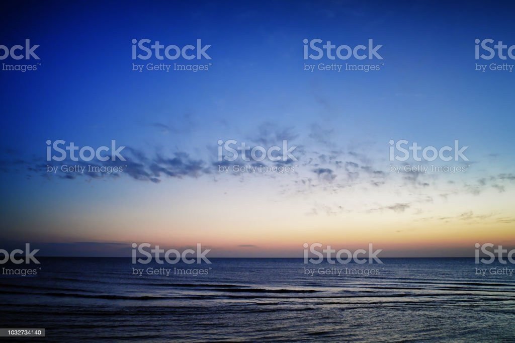 Seascape at Evening from Yongan Fish Harbor in Xinwu District, Taoyuan, Taiwan. stock photo