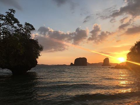 Beautiful scenic view of Seascape at Krabi Maritime Natural Park in Thailand in the evening dusk time