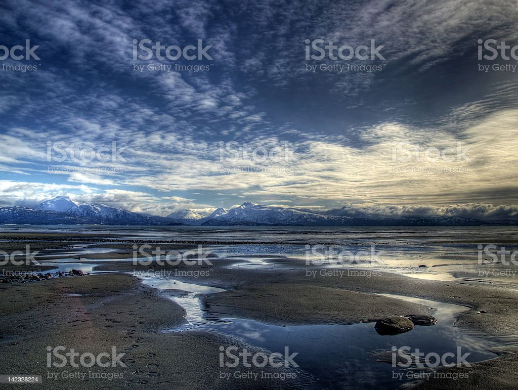 Seascape at low tide stock photo