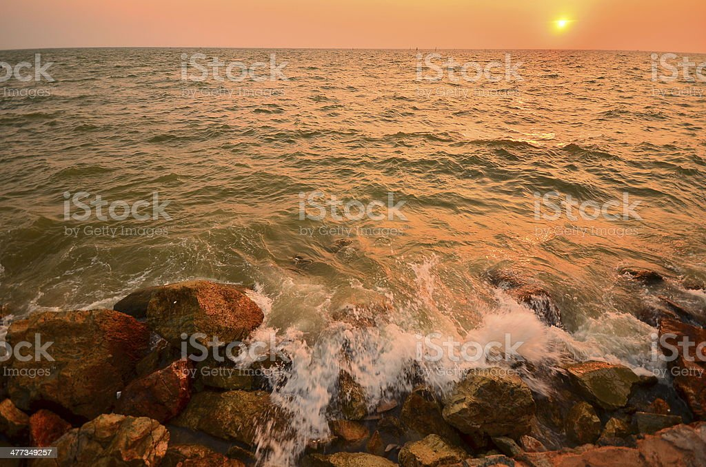 Seascape at Sunset Background royalty-free stock photo
