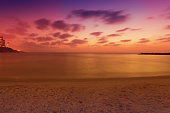 Seascape. Beach in the evening. Netanya city during sunset, Israel