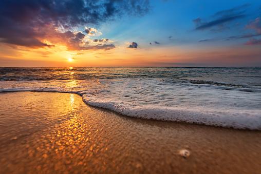 Seascape during sundown. Beautiful natural seascape