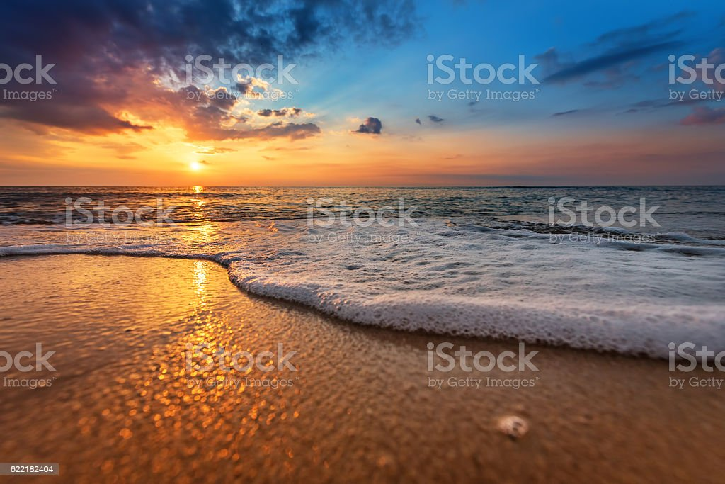 Seascape during sundown. Beautiful natural seascape stock photo
