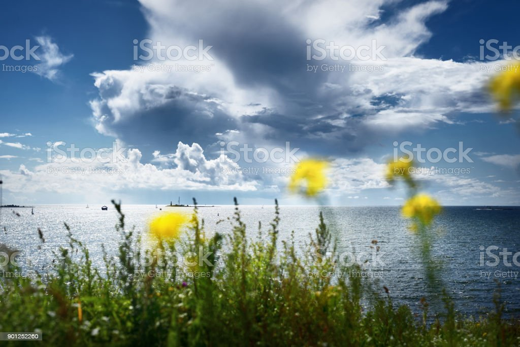 Seascape from a Helsinki shore on a beautiful summer day stock photo
