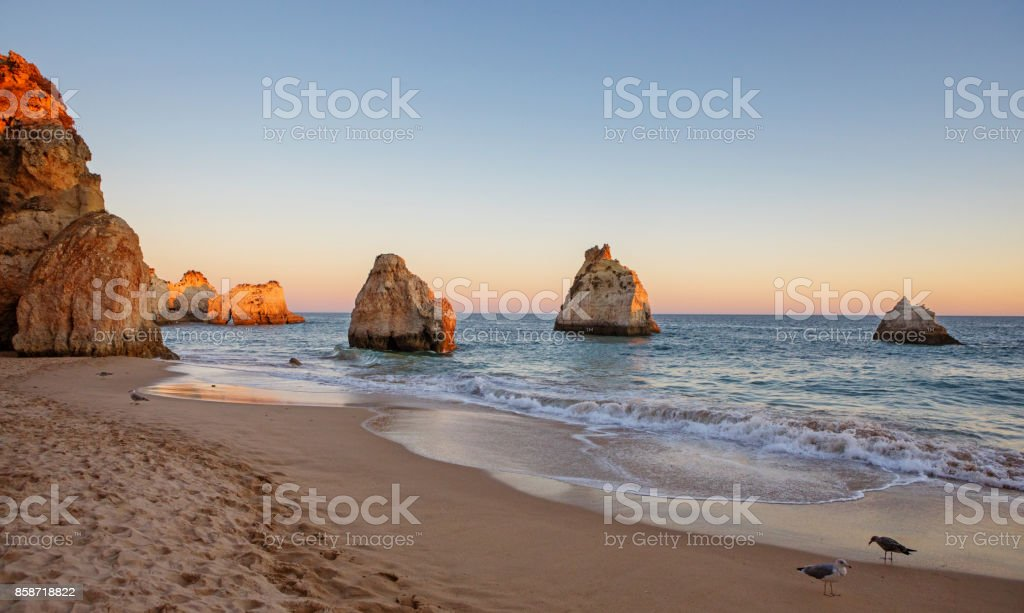 Seascape images of beach in Alvor Portugal in late summer sun stock photo
