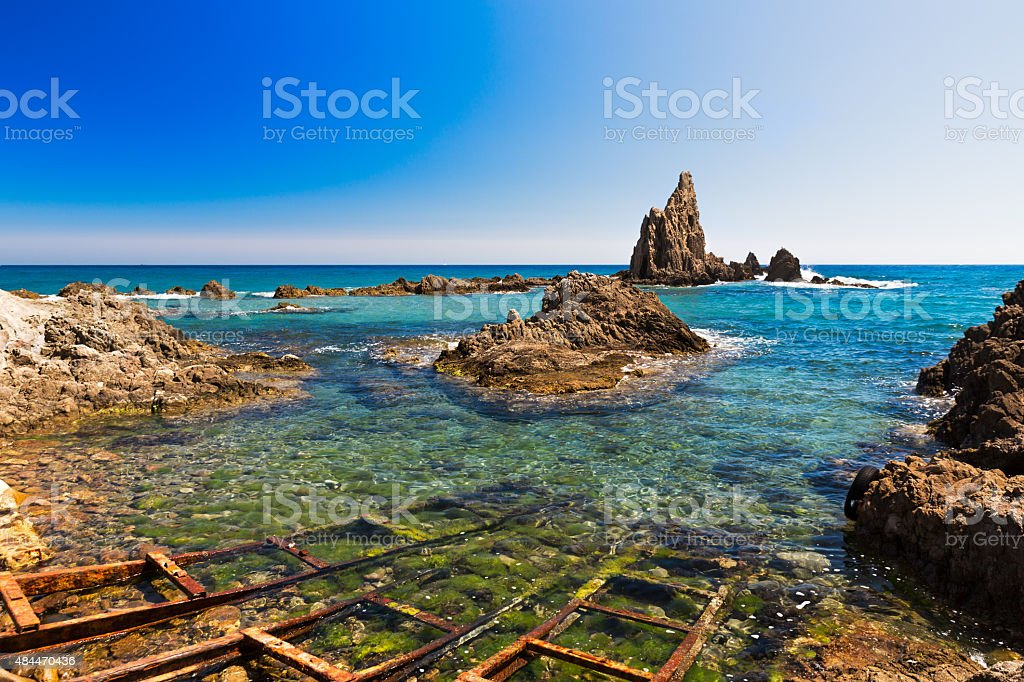 Seascape in Almeria, Cabo de Gata National Park, Spain stock photo