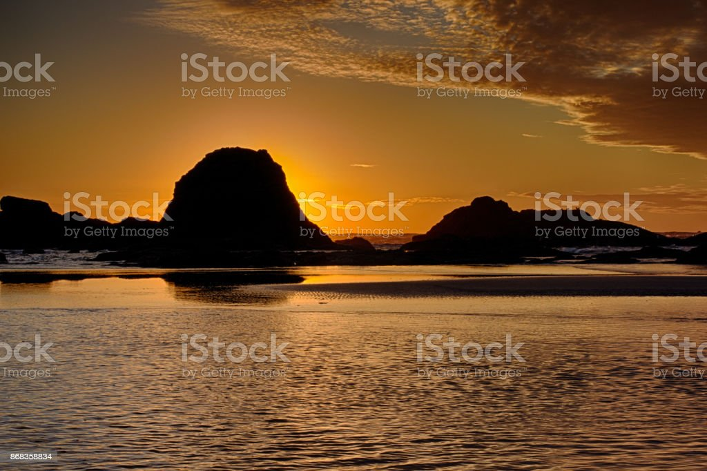 Seascape in Front of Setting Sun stock photo