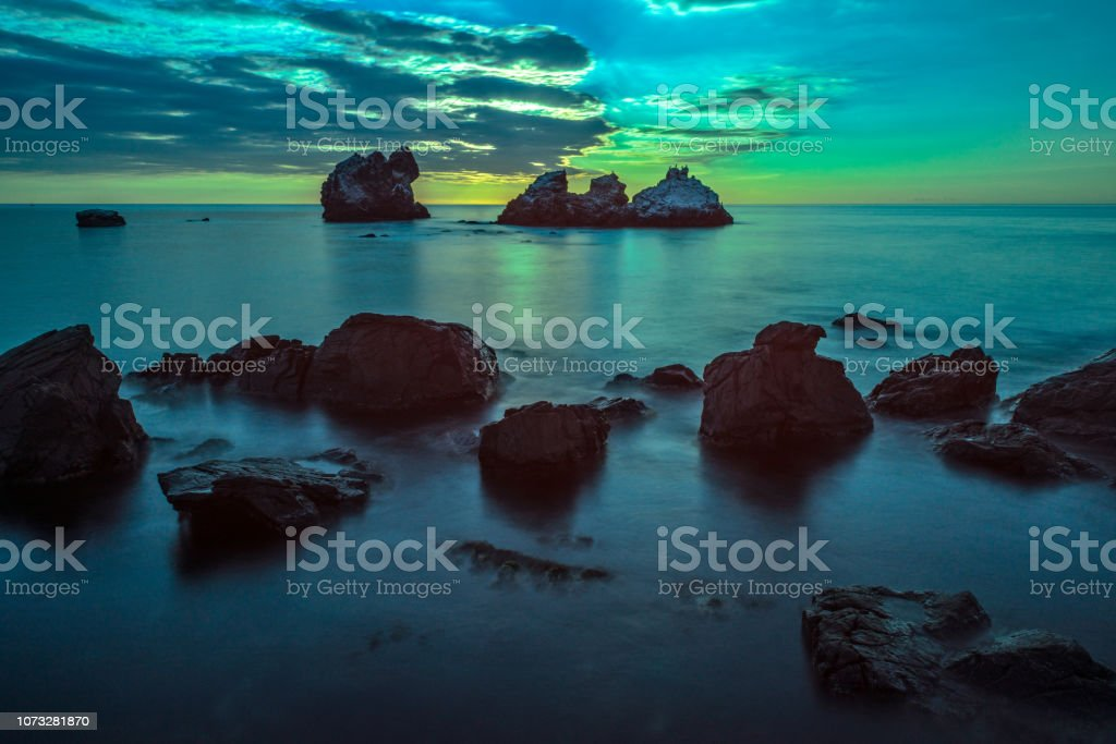 Seascape in moonlight stock photo