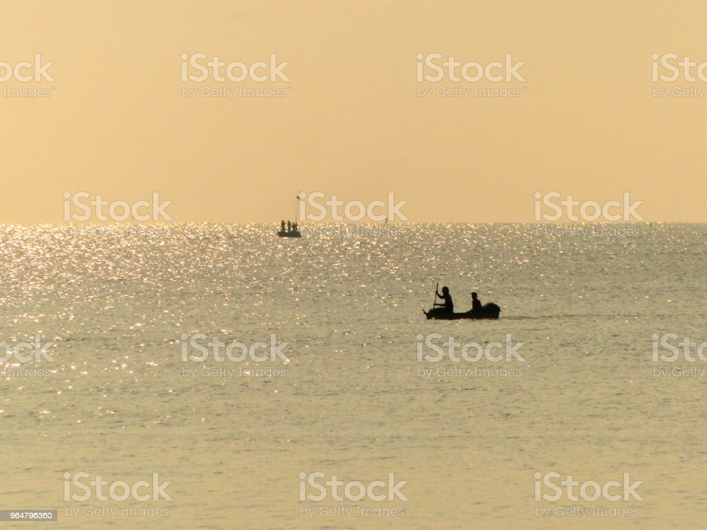 seascape in sunny day and people on boat royalty-free stock photo