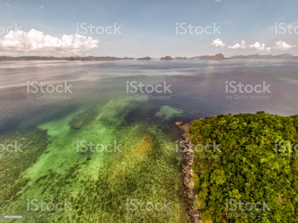 Seascape landscape from the sky. Beach on top. Sea, sand, palm trees. royalty-free stock photo