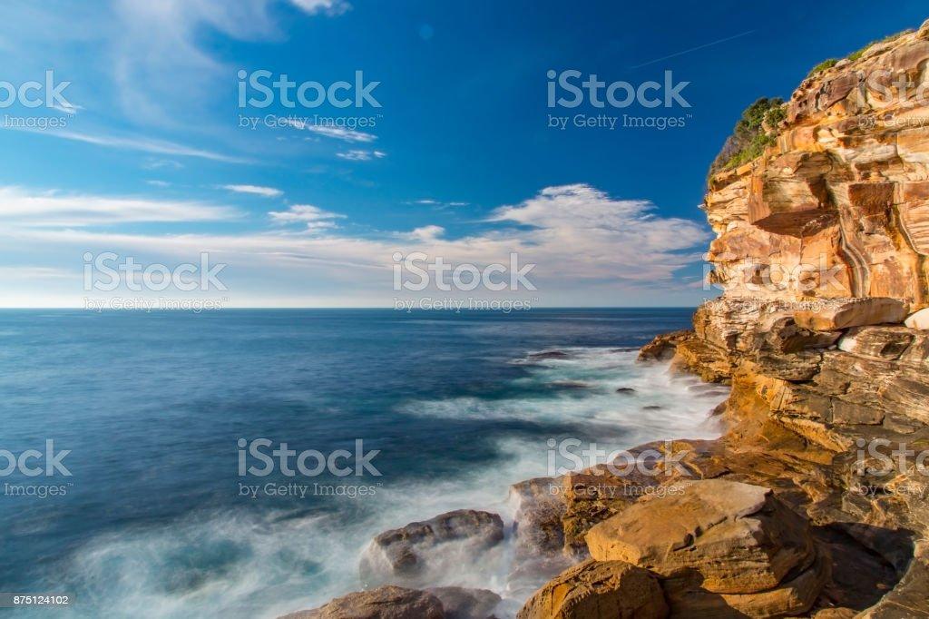 Seascape morning rock cliffs stock photo