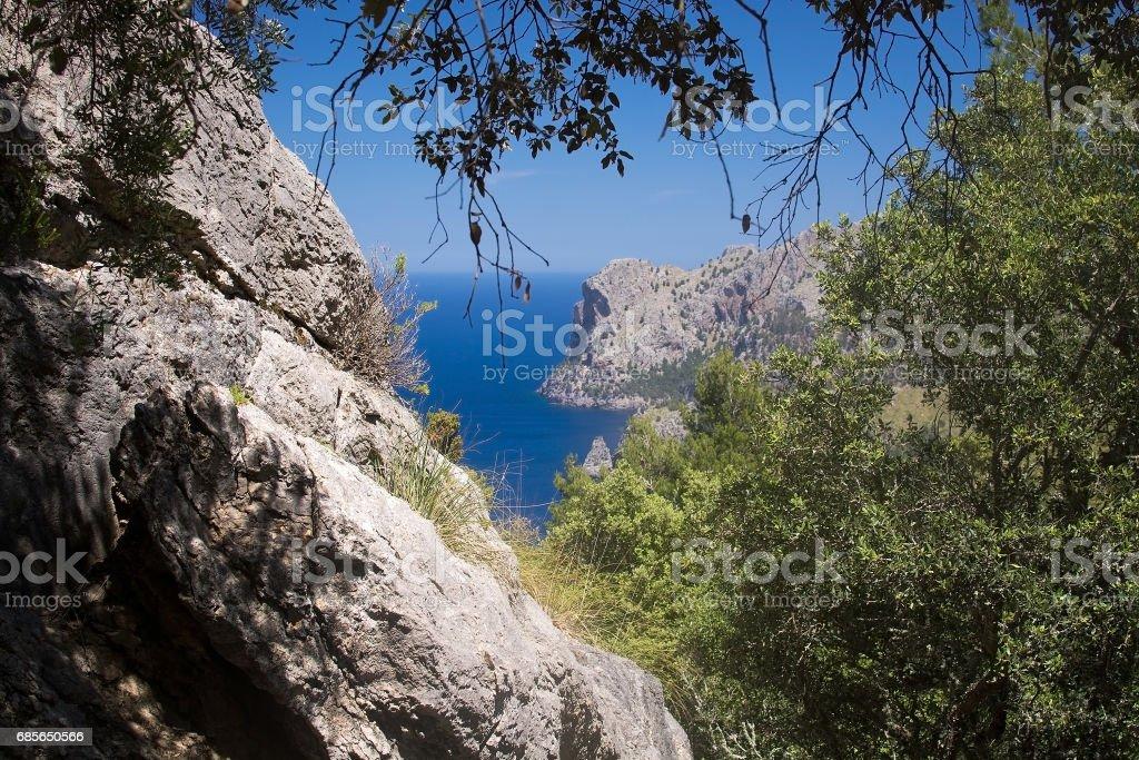 Seascape mountain view Mallorca royalty-free 스톡 사진