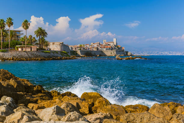 Seascape of Antibes in Provence France stock photo