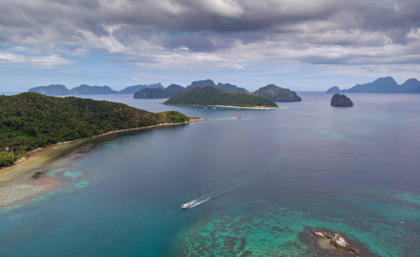 seascape of archipelago of Bacuit in Philippines stock photo