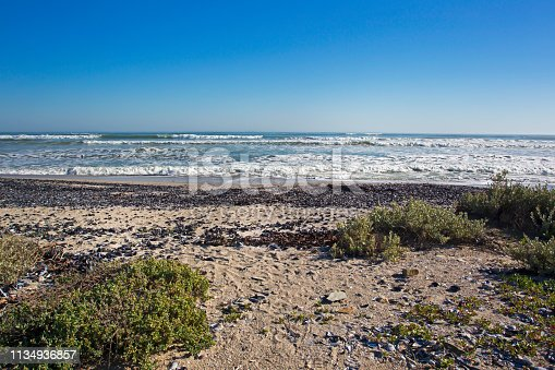 974677018istockphoto Seascape of beach with shells and waves 1134936857