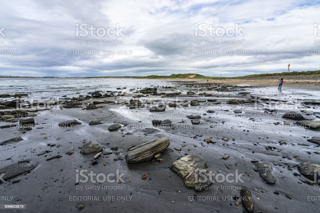 Seascape of Dunnet Bay near Dunnet Head,  he most northerly point of the mainland Britain. Dunnet Bay, Caithness, Scotland, Britain, August 2017 stock photo