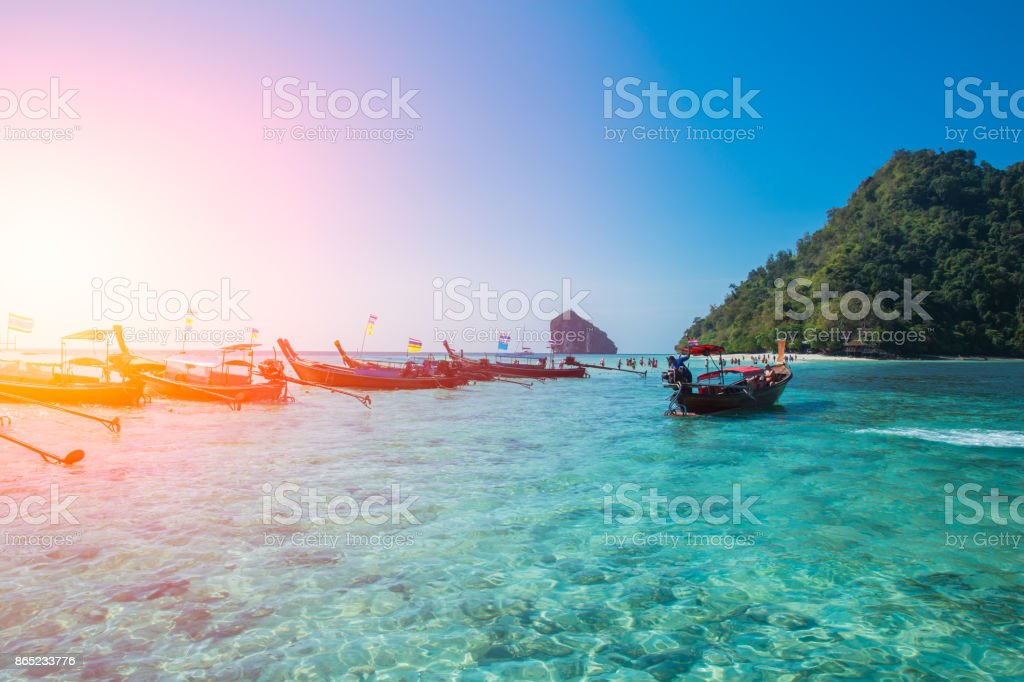 Seascape of Krabi Thailand travel in summer season with emerald clear sea water stock photo